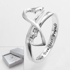Sterling Silver Mother Daughter Friends Heart Ring