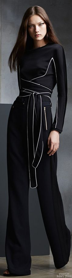 ALL Black Outfit with White Trim Details, Straight Hair, & Cat Liner Eyes. (Issa Pre-Fall 2015)