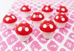 5x Mini Mushrooms 12mm Red and White Polkadot Toadstools