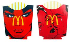 Original Art With A Side Of Fries. 38 Painted McDonald's Fry Containers by Ben Frost.