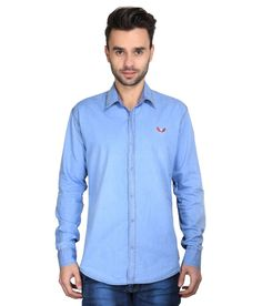 Bravezi Blue Denim Casual Shirt For Men - http://weddingcollections.co.in/product/bravezi-blue-denim-casual-shirt-men/