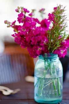 Perfect color flower for our blue mason jar centerpiece on the dining table.