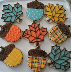 Check out these fun fall cookies! Pumpkin Sugar Cookies Decorated, Acorn Cookies, Iced Sugar Cookies, Fall Cookies, Cut Out Cookies, Royal Icing Cookies, Thanksgiving Cookies, Harvest Party, Delicious Cookie Recipes
