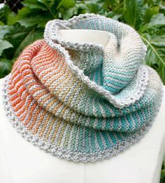 Free Knitting Pattern for Prisma Loop Cowl Infinite Scarf - Garter stitch stripes combined with gradient yarn create a colorful cowl or infinite scarf. Designed by Virginia Catherall