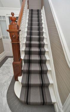 Transat Grey PNT 21 Carpet by Hartley and Tissier Carpet Staircase, Hallway Carpet, Hallway Colours, Painted Staircases, Modern Carpet, Grey Carpet, Wool Carpet, Best Carpet, Carpet Styles