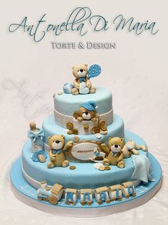 Such a cute cake Baby Boy Cakes, Cakes For Boys, Fondant Cakes, Cupcake Cakes, Cupcakes, Beautiful Cakes, Amazing Cakes, Teddy Bear Cakes, Teddy Bears