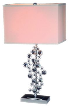 Chrome Ring with Crystal Table Lamp
