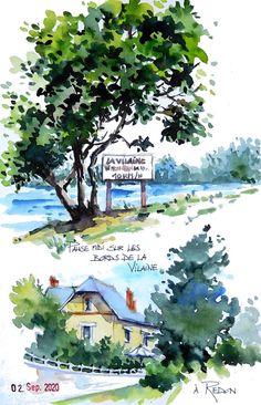 Watercolor Sketchbook, Watercolor And Ink, Watercolor Paintings, Artist Journal, Urban Sketching, Ink Art, Painted Rocks, Illustrations, Sketches