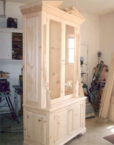 Rustic knotty pine gun cabinet. I built this and is currently for sale .