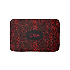 Deep Red Leopard Monogram Pattern Bathroom Mat