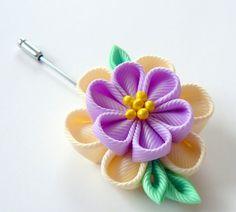 Men's Flower Lapel Pin. Kanzashi  fabric flower brooch . от JuLVa