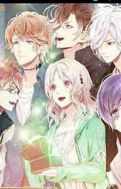 Diabolik Lovers - Yui Komori with Shuu Sakamaki, Shin Tsukinami, Kanato Sakamaki, Subaru Sakamaki and Yuma Mukami.