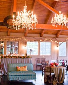 Glamorous chandeliers are an easy way to dress up a more casual venue