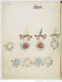 « Registre d'armes » ou armorial d'Auvergne, dédié par le hérault Guillaume REVEL au roi Charles VII.  Date d'édition :  1401-1500  Français 22297  Folio 180