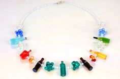 glass bottles and bubbles necklace..  www.burcutansug.com