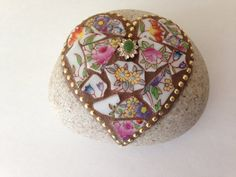 Mosaic China Heart Rock Paperweight Garden Stone by PalsCreations, $20.00