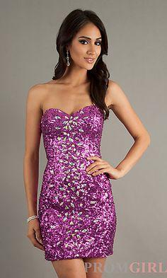 Short Strapless Sweetheart Sequin Dress at PromGirl.com