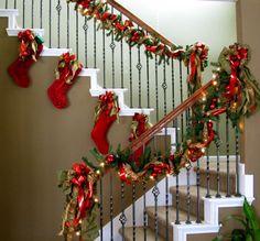 Christmas stairs via MyKirkland's user, voyageurs47 #seasonaldecor #kirklands