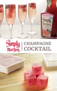 Simply Mixed Berry Juice Drink Cubes and champagne make for a beautiful and delicious deconstructed Bellini. Pour Simply Mixed Berry Juice Drink into an ice cube tray, freeze overnight, drop your cubes in some bubbly and enjoy! by christy Christmas Drinks, Holiday Drinks, Party Drinks, Summer Drinks, Cocktail Drinks, Fun Drinks, Alcoholic Drinks, Beverages, Brunch Drinks