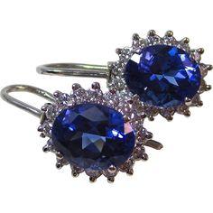 Vintage Estate Tanzanite & Diamond Earrings Platinum