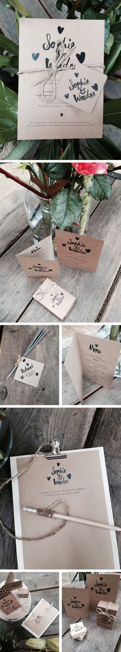Trouwuitnodiging, kraft, black, zwart, hartjes, love, wedding, rustic, craft, wedding invitation