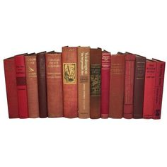 Decorative Red Vintage Distressed Books - S/14 ($77) ❤ liked on Polyvore featuring art books
