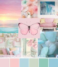 The combination of colors: Rose Quartz and Aqua Colour Pallette, Color Palate, Colour Schemes, Color Patterns, Color Combinations, Kids Room Paint, Color Collage, Design Seeds, Colour Board