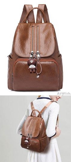a9540b3d9801 Retro Soft PU Ladies Double Zipper Women s Backpack Brown School Bag for  big sale!