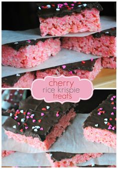 Delicious, easy Cherry Rice Krispie Treats recipe. Top these with Dark Chocolate and sprinkles!