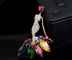 Multiple Color Zircon Little Mermaid Brooch Pin Rhinestone Wedding Brooch Garment Accessory Fashion Brooch Gold Tone Brooch Gift Idea