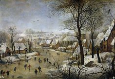Pieter Brueghel the Younger - Winter Landscape with a Bird-trap, 1601, oil on panel