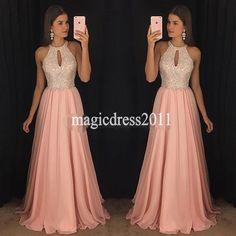 Gorgeous Pink Chiffon Prom Dresses A-Line Halter Major Beaded Ruffled Pleated Evening Formal Gowns Long Chiffon Dress for Party Wear - Best Tutorial and Ideas Cute Prom Dresses, Prom Dresses With Sleeves, Plus Size Prom Dresses, Prom Dresses For Sale, Gala Dresses, Trendy Dresses, Cheap Dresses, Homecoming Dresses, Nice Dresses