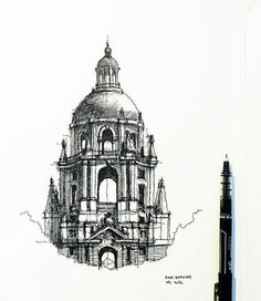 Find images and videos about black, white and art on We Heart It - the app to get lost in what you love. Architecture Drawing Sketchbooks, Architecture Concept Drawings, Historical Architecture, Art And Architecture, Cool Art Drawings, Art Drawings Sketches, A Level Art Sketchbook, Easy Landscape Paintings, Pop Art Wallpaper