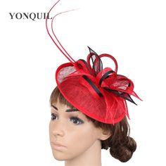 460f479ab5ec US $10.99  Fashion linen Ladies Fascinator wedding hats red women cocktail  married headdress female party millinery headwear 2018 SYF267-in Women's  Fedoras ...