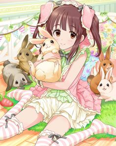 ✮ ANIME ART ✮  bunny girl. . .rabbit girl. . .rabbits. . .rabbit ears. . .twin tails. . .striped socks. . .ruffles. . .ribbons. . .pastel. . .cute. . .kawaii