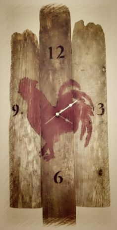 Shop for on Etsy, the place to express your creativity through the buying and selling of handmade and vintage goods. Pallet Crafts, Pallet Art, Wood Crafts, Rooster Kitchen Decor, Rooster Decor, Rooster Wall Clock, Chicken Crafts, Chicken Painting, Wood Animal
