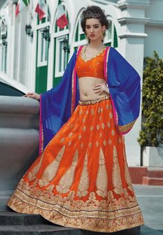 #Net #Orange #Semi #Stitch #Lehenga with #Choli And #Dupatta...  Orange Net flared Semi Stitch Gown designed with Resham Embroidery And Lace Work With Butta Work.  INR:3,417.00  With Exclusive Discounts  Grab:http://tinyurl.com/hv9qcm6