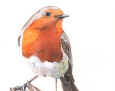 Pájaro petirrojo pintura 2014 decoración de por LouiseDeMasi