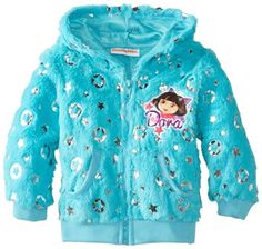Nickelodeon Little Girls' Dora the Explorer 1 Pieced Ring Hoodie, Turquoise, Faux-fur hoodie jacket featuring Dora the Explorer chest patch and foil stars. Ribbed cuffs and hem. Newborn Girl Outfits, Cute Girl Outfits, Kids Outfits Girls, Toddler Girl Outfits, Explorer 1, Dora The Explorer, Nickelodeon Girls, Faux Fur Hoodie, Unique Hoodies