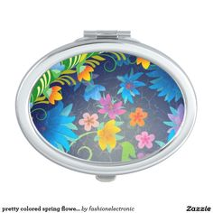 pretty colored spring flowers compact mirror for makeup