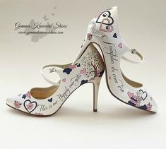 Personalised Mary Jane Wedding Shoes with dog paw prints, clovers and books as well as Chip from the Disney film Beauty and the Beast. Beach Wedding Guest Attire, Beach Wedding Bridesmaid Dresses, Beach Wedding Shoes, Yellow Wedding Shoes, Silver Wedding Shoes, Cinderella Pumpkin Carriage, Occasion Shoes, Shoe Gallery, Hand Painted Shoes