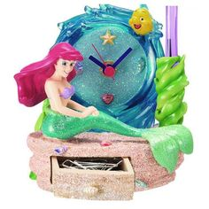 The Little Mermaid Ariel Pen Holder with Clock and Drawer