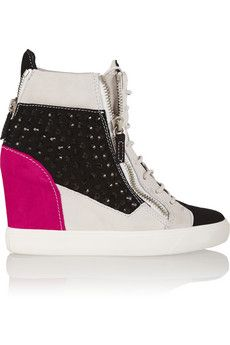 Giuseppe Zanotti Crystal-embellished suede wedge sneakers   THE OUTNET