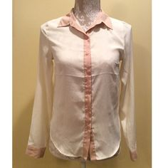 """⚜Cream and Dusty Rose Button Up⚜ ⚜Bust: 16"""" ⚜Shoulders: 13"""" ⚜Waist: 16"""" ⚜Shoulder Length: 24"""" ⚜ Length: 25""""  Condition: Small line on right sleeve (Pic 4) ; No Rips  100% Polyester  No TradesNo Holds H&M Tops Button Down Shirts"""