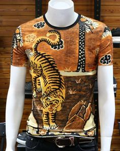 animal tiger print t shirt mens viscose t shirts short sleeve Tiger T Shirt, Tall Guys, Tiger Print, Slim Man, Printed Tees, Hiphop, Printer, Tee Shirts, Men Sweater