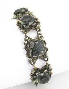Art Deco Pre 1948 Mexico Silver Glass Link Bracelet