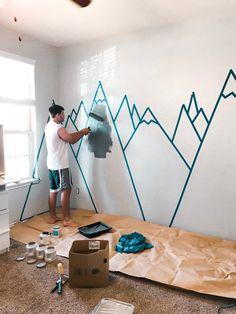 Baby Bedroom, Baby Boy Rooms, Baby Room Decor, Nursery Room, Kids Bedroom, Nursery Wall Murals, Mountain Mural, Mountain Nursery, Mountain Decor