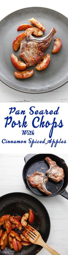 Pan Seared Pork Chops with Cinnamon Spiced Apples via @thebrooklyncook