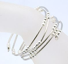 Sparkling Memory Wire Bracelet, with Brass Tube Beads and Iron Spacer Beads, Silver