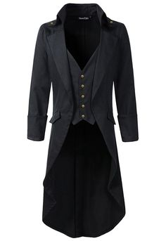 Steampunk Men's Coats Mens Gothic Tailcoat Jacket Black Steampunk VTG Victorian High Collar Coat $63.00 AT vintagedancer.com
